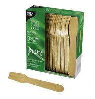 Купить Ложка деревянная для мороженого 9,4 см 100 шт/уп PapStar 10625
