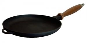 Купить Сковорода для блинов чугунная с деревянной ручкой d240x25 мм 240025