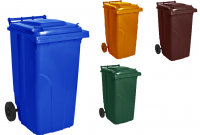 Купить Контейнер для ТБО пластиковый 120л 535x580*h-945мм зеленый,синий, оранжевый, коричневый, серый, черный