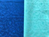 Купить Ткань скатертная водоотталкивающая вензель шир.150см пл. 240гр 50%хб/50%пэ синий, голубой 10-200