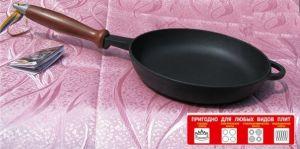 Купить Сковорода чугунная с деревянной ручкой d200x35 мм 200035