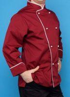 Купить Китель поварской двубортный,ткань саржа бордо с отделкой
