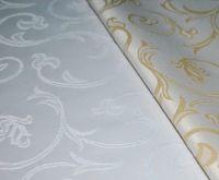 Купить Ткань скатертная водоотталкивающая шир.150см пл. 240гр 50%хб/50%пэ св.золото, белый 10-200