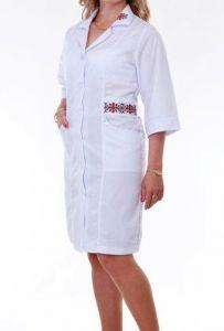 Купить Халат медицинский с вышивкой женский тк. 100% cotton 3121