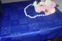 """Купить Скатерть 145*220 см ткань жаккард """"квадраты"""" 55%хб/45%пэ пл.230г/м2 синяя"""