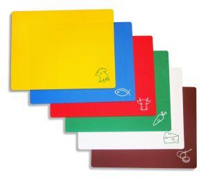 Купить Доска разделочная пластиковая красная, белая, желтая, зеленая, синяя 400*300*20 мм 180-91