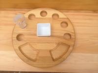 Купить доска деревянная под шоты и закуски d-250*22мм недорого.