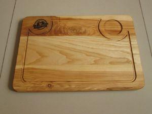 Купить Доска деревянная с выемкой под соусник 6,5см 400х270х18мм , дуб