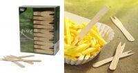 Купить вилка для закусок деревянная snack 12 см 500 шт/уп papstar 82557 недорого.