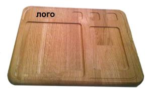 Купить Доска деревянная для подачи блюда с выемками под соусы и салат 300х400х20 мм