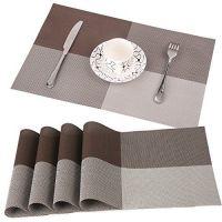 Купить Салфетка сервировочная под тарелки 45х30см Клетка коричневая/кофе с молоком