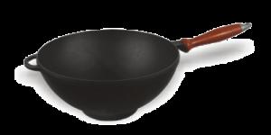 Купить Сковорода чугунная WOK с деревянной ручкой d260x80 мм Ситон 260120