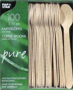Купить Ложка деревянная кофейная 11см 100 шт PapStar 10085