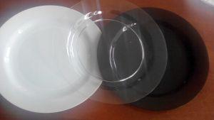 Купить Тарелка d-220мм PS прозрачная, белая, черная 85шт/уп