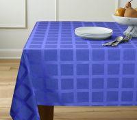 Купить Скатерть клетка синяя 120х140см 88%х/б,12%пэ пл.205 г/м2