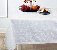 Купить Ткань скатертная Завитки шир.150см пл.238гр/м белый, зеленый
