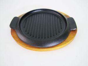 Купить Сковорода гриль чугунная на деревянной подставке d-260мм 14706