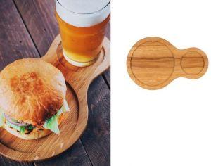 Купить Доска деревянная для подачи бургера с напитком 280х80х20мм дуб